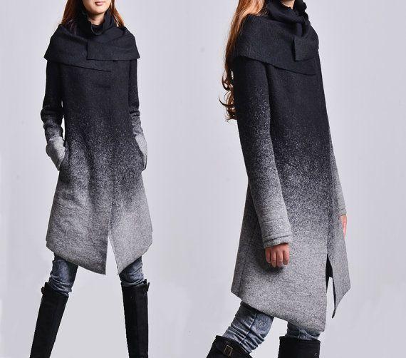 givre - manteau de laine gradient + coton sans creux top / asymétrique veste de…