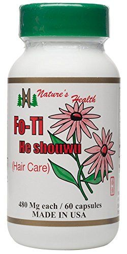 Fo-Ti, Promotes Healthy Hair Growth, 100% All-Natural Hair Pigment Restoration Supplement, He Shou Wu, 480 Mg Per Capsule, 60 Capsules, Nature's Health