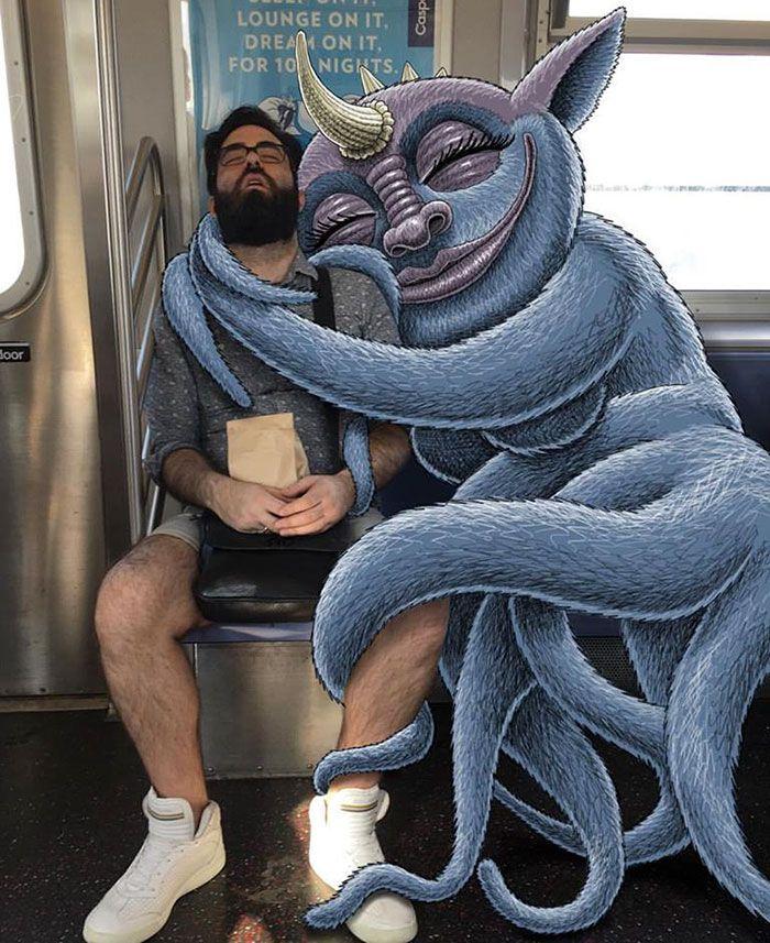 Ilustrador coloca monstros ao lado de estranhos no metro para animar o…