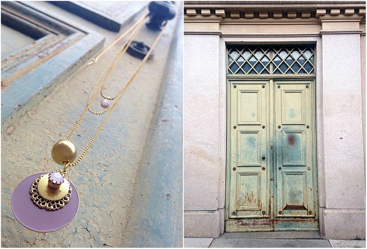 Natanè Planet necklace on an old door. #necklace #collane #colors #ametista #amethist #woman #fashion #style #outfit #swarovski #jewel #bijoux #door #porta #gate #girl #natanè