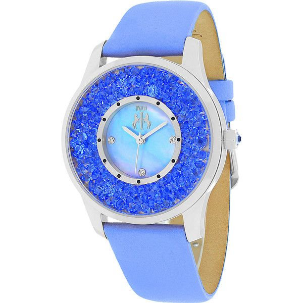 Jivago Watches Women's Brillance Watch - Blue - Women's Watches (105 CAD) ❤ liked on Polyvore featuring jewelry, watches, blue, quartz movement watches, stainless steel watches, stainless steel wrist watch, blue watches and blue wrist watch