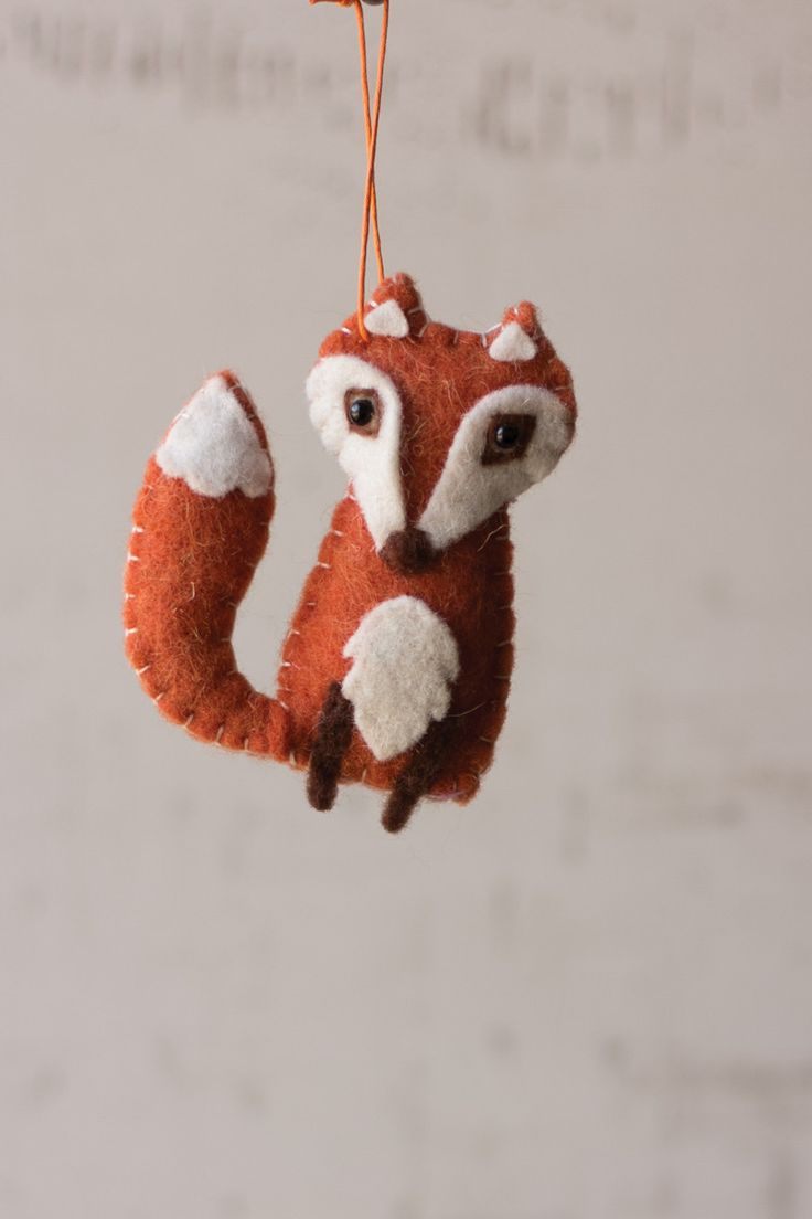 This Set Of 6 Fox Ornaments Is Made Of Soft Felt And Will Proved A Touch