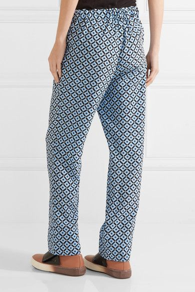 Marni - Printed Silk Crepe De Chine Wide-leg Pants - Blue - IT42