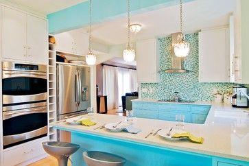 Kitchen with aqua tiled splashback