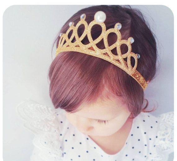 Gold Glitter Crown Headband for Babies Glitter by AllureDesignsAU