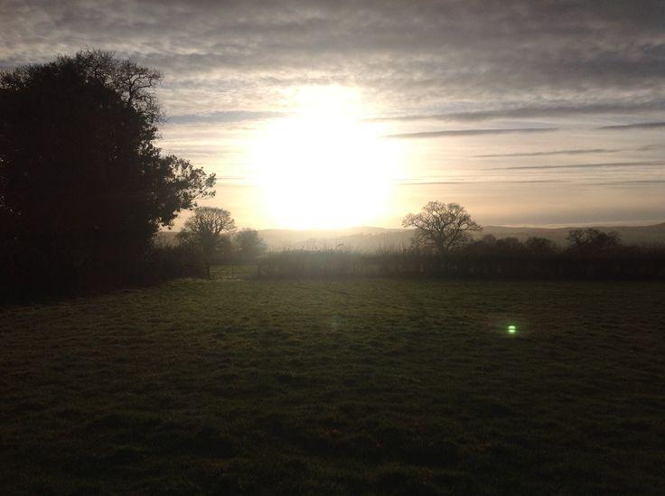 Frosty sunset across the fields