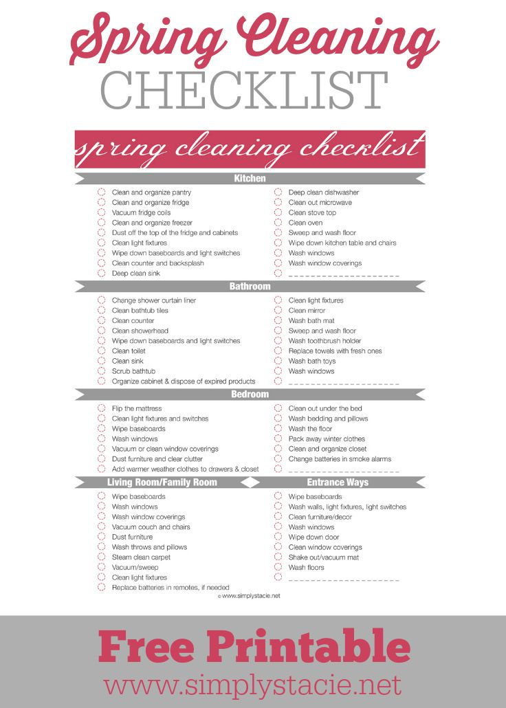 Spring Cleaning Checklist - Don't get overwhelmed by Spring cleaning! Use this free checklist to stay organized and motivated.