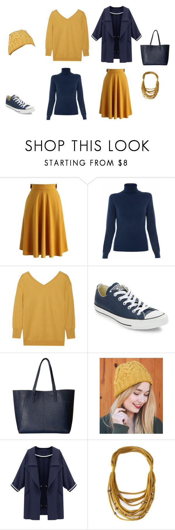 """Fall Color Palette, Skirt Edition: navy blue and mustard yellow"" by yanimal ❤ liked on Polyvore featuring Chicwish, Repeat, Étoile Isabel Marant, Converse, Gabriella Rocha and Leto"