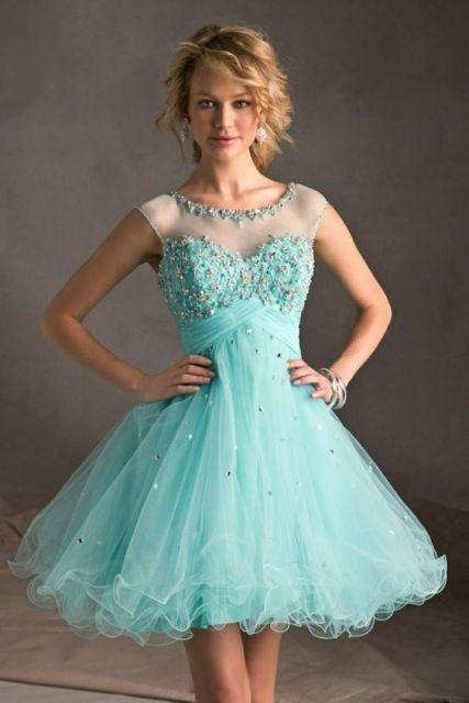 Resultado de imagem para vestido debutante azul tiffany