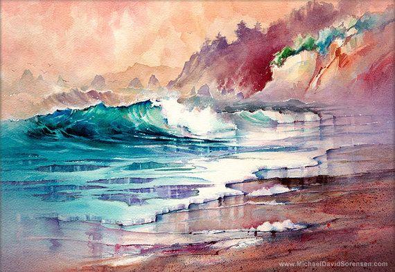 Délice du marin - Sunset océan peinture aquarelle Print. Art de la plage. Fracas des vagues. Plage de sable. Coloré oeuvre côtières chaudes couleurs bleu