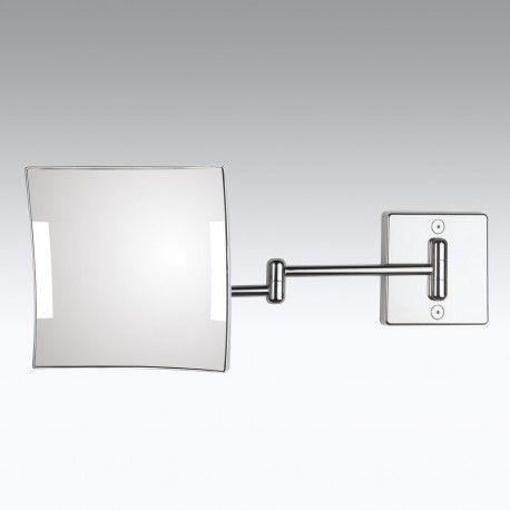 Specchio ingranditore x3 quadrato da parete cromo. 2 Braccia. Illuminazione a LED.Alimentazione esterna con spina. | kohinoor shop