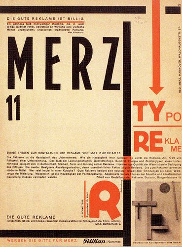 The periodical Merz was edited by Kurt Switters after the DaDa movement did not accept his ideas and concepts. This cover was designed by El Lissitzky 1924.