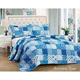 3tlg. Patchwork Tagesdecke Blau Bettüberwurf Überwurf für Doppelbett Blau