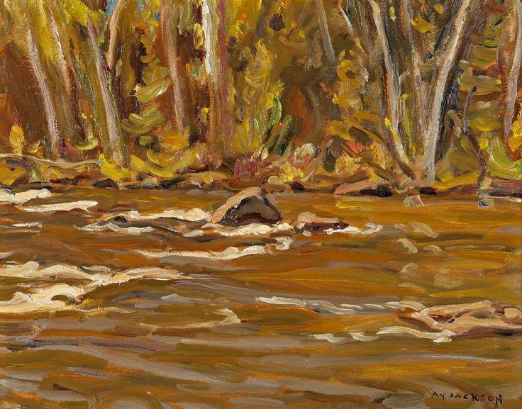 A.Y. Jackson - Palmer Rapids 10.5 x 13.5 Oil on panel (1962)