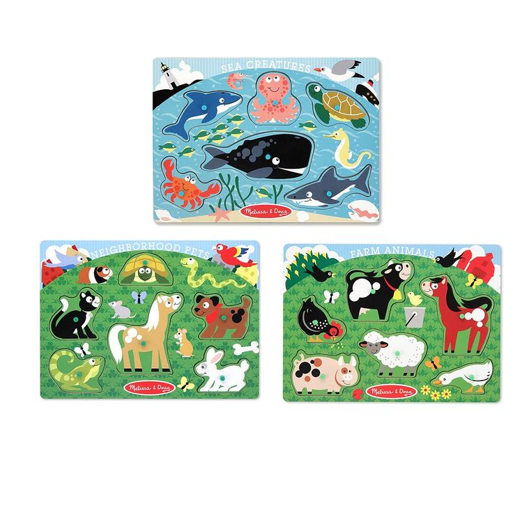 Melissa and Doug Farm Animals, Pet and Sea Creature Peg Puzzle Set, Multicolor