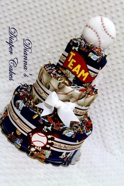 Old School Baseball Baby Diaper Cake Shower Gift or Centerpiece created by www.diannasdiapercakes.com