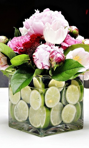 Peony/Lime Centerpieces