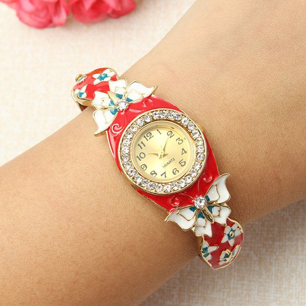 New Fashion Watch Cloisonne Retro Butterfly Rhinestone Bracelet Watch