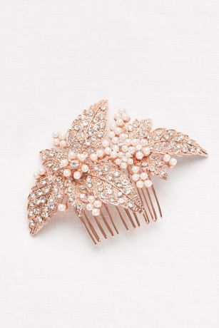 Pearl and Crystal Floral Comb - Davids Bridal