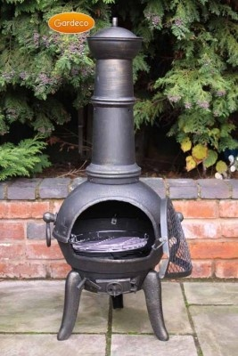 -Traditional Chiminea shape with traditional legs -100% cast iron for long life -Ideal for most size patios, gardens & holiday homes. -Comes with a hinged door with latch and cast iron lid -Complete with swivel BBQ Grill -Hinged door and latch -Opening air vent & lid -Warms up fast and gives a lot of heat -Easy assembly with full instructions supplied.