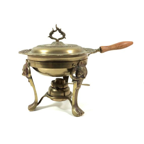 Vintage Asian Brass Chafing Dish Set with Lion's Head Figural Stand and Burner, Large Casserole Pot with Warmer Base