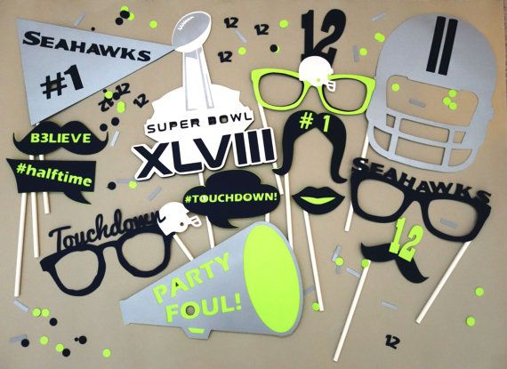 We need these! Seattle Seahawks SUPER BOWL XLVIII Photo Booth by DesignLaVita, $42.00