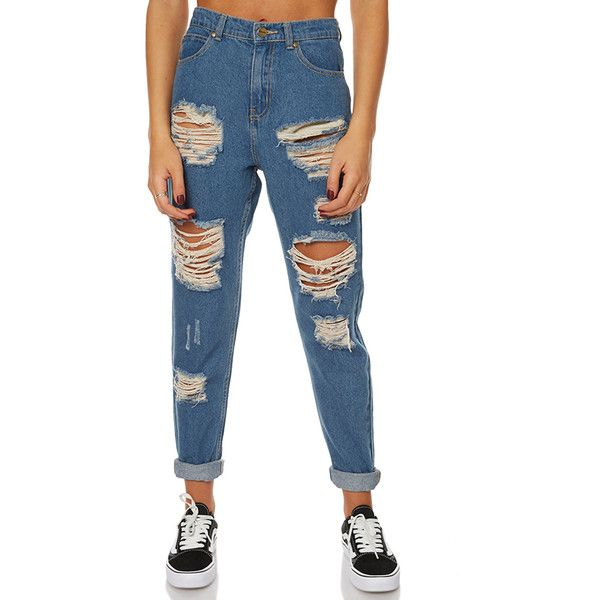 Afends Luckies Ripped High Waist Slim Jean Blue (£71) ❤ liked on Polyvore featuring jeans, blue, women, slim fit jeans, white high-waisted jeans, blue jeans, high waisted distressed jeans and relaxed fit jeans