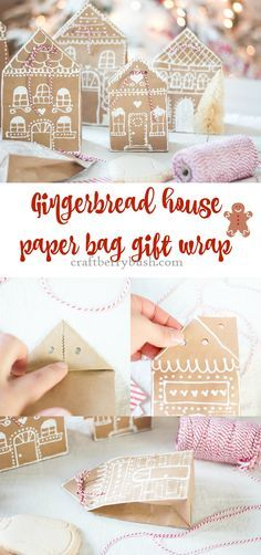 Craftberry Bush | Gingerbread House Paper Bag Gift Wrap Idea | http://www.craftberrybush.com Create this gorgeous gift wrap using paper bags and white puffy paint - so easy for last minute gift wrap!