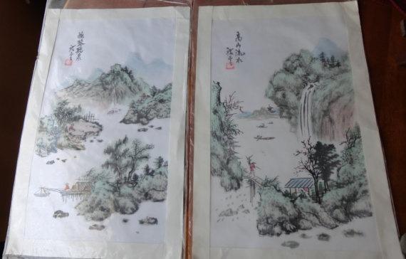 Set of Modern Japanese Silk Prints Unframed By by tennesseehills, $38.00