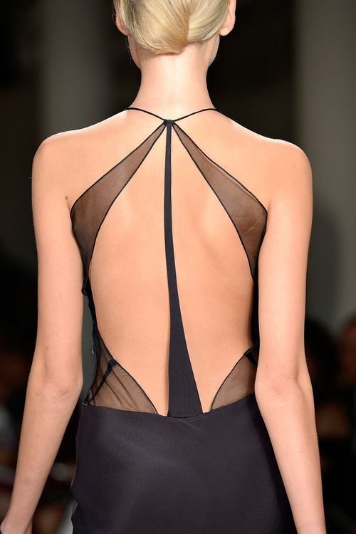 sheer fabric lends to femininity for this little black dress :: Sophie Theallet | Spring 2013
