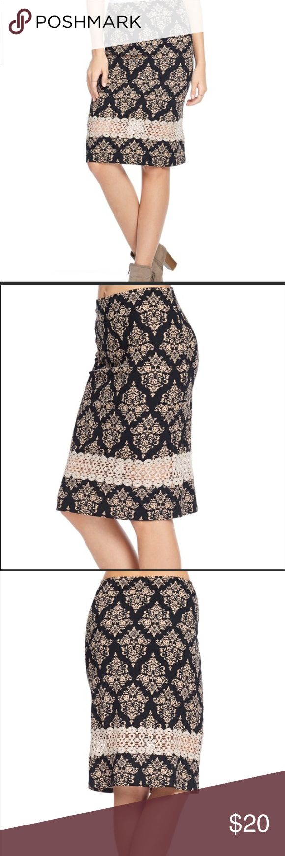 Lace Damask Black and White Pencil Skirt Beautiful skirt that can be dressed up or down. 97% polyester. 3% spandex. Bellino Clothing Skirts Pencil