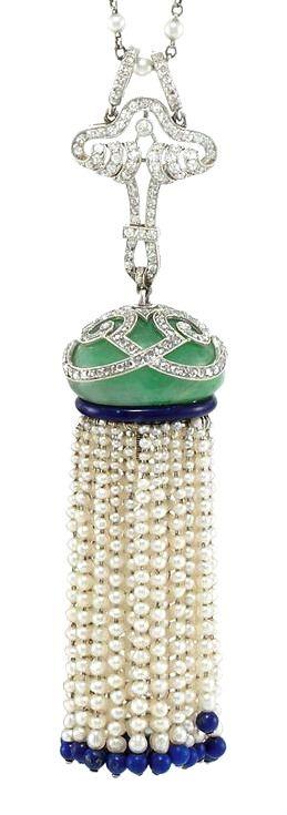 Art Deco Platinum, Diamond, Jade, Blue Enamel, Seed Pearl and Lapis Bead Tassel Pendant with Platinum and Pearl Chain