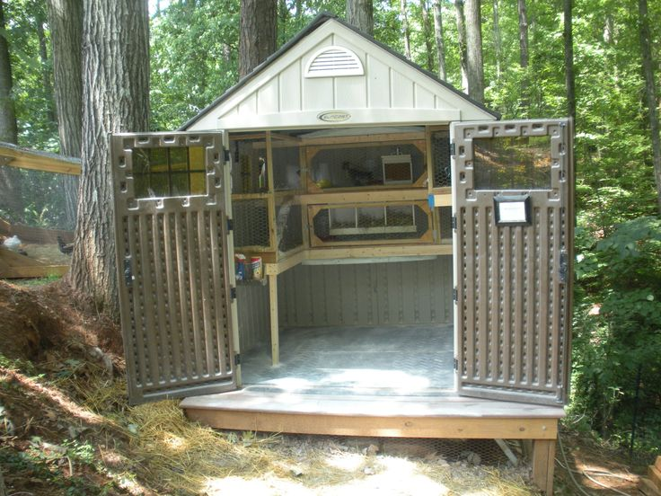 This is a plastic Suncast shed from Home Depot.         The plank comes out the window and...