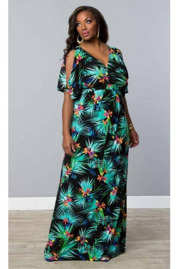 454a8896bcf3 Here is a 🌴 feminine tropical 🌴 style cold shoulder maxi dress that has  you ready