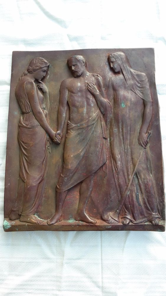 Bronze Relief Metallbild antik Merten griechisch / römisch ?