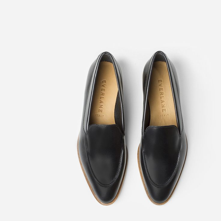 """An elegant, architectural flat that feels as good as it looks  100% Italian leather Hand-polished leather is half chrome-tanned and half vegetable-tanned leather, so it's super soft but still structured Stitching details over the toe ¾"""" stacked leather heel, with contrast rubber accent for durability"""