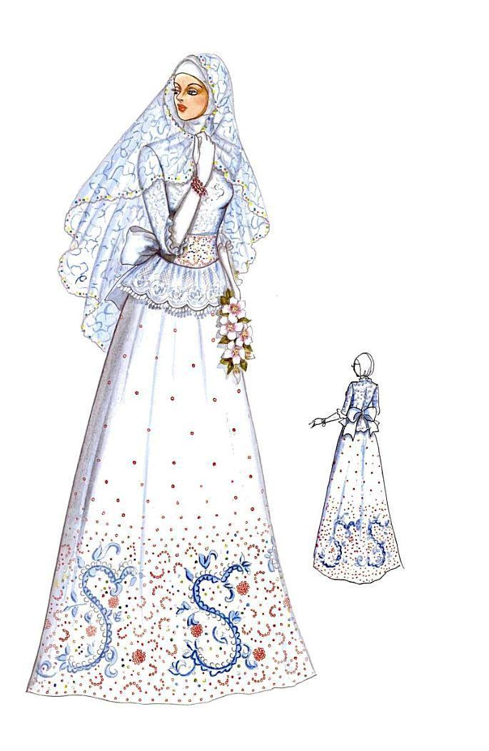 Busana pengantin two pieces yang terdiri atas rok model rimpel ditambah blus ringan ber-peplum yang dipercantik dengan ikat pinggang pita besar. Gaya klasik ini dipertegas dengan bordir aneka warna yang diterakan diatas kain tuller putih. Bahan : french lace atau tulle.