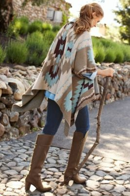 Taos Topper - Ladies Poncho, Drape Cardigan, Tribal Cardigan | Soft Surroundings
