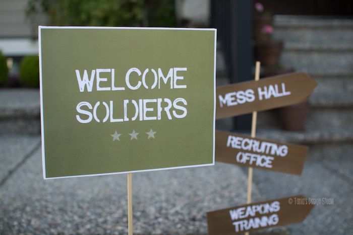 Welcome Signage from an Army Themed Birthday Party via Kara's Party Ideas | KarasPartyIdeas.com- The place for all things Party! (10)
