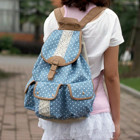 2618a75c6b  3 Cute Sky Blue Colored Backpack with White Polka Dots   White Lace  Embroidery Designs