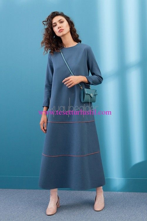 Kuaybe Gider Pride petrol mavisi elbise