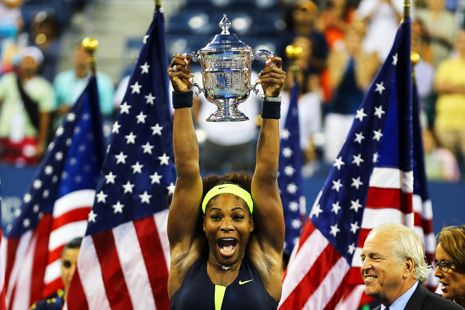"""Serena Williams... has never been allowed to be simply an athlete. She has served as a totem for issues relating to race, class, celebrity, sibling rivalry, family conflict, and body image.""  Reeves Wiedeman on Serena at the U.S. Open: Just a Tennis Player, Finally: http://nyr.kr/Qfy2d6 (Photograph by Al Bello/Getty Images.)"