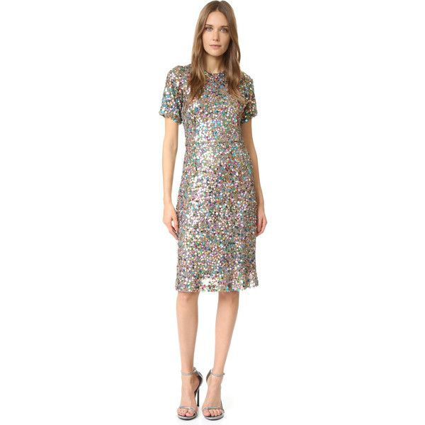 Rodarte Sequin Dress ($2,500) ❤ liked on Polyvore featuring dresses, white metallic dress, metallic cocktail dress, lining dress, short-sleeve dresses and white cocktail dresses