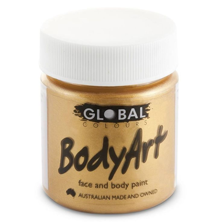 Global Body Art Gold liquid face paint is a highly concentrated and heavily pigmented, water based face paint that can be used for creating designs that are more water resistant than Global's face pai