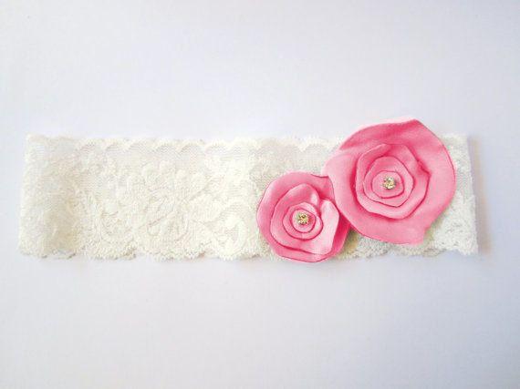 Pink Wedding Garter / Sexy Hot Pink Garter / Ivory Stretch Lace Single Garter. $26.00, via Etsy.