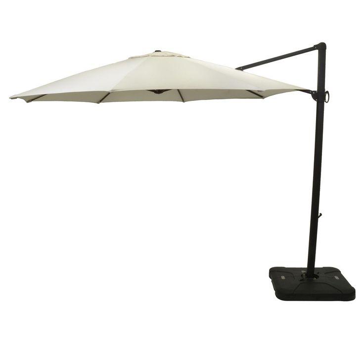 11' Offset Sunbrella Umbrella - Canvas - Black Pole - Smith & Hawken