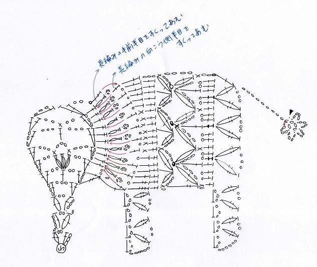 ぞうのモチーフ(編み図付き、象、ゾウ)の画像:Crochet a little elephant