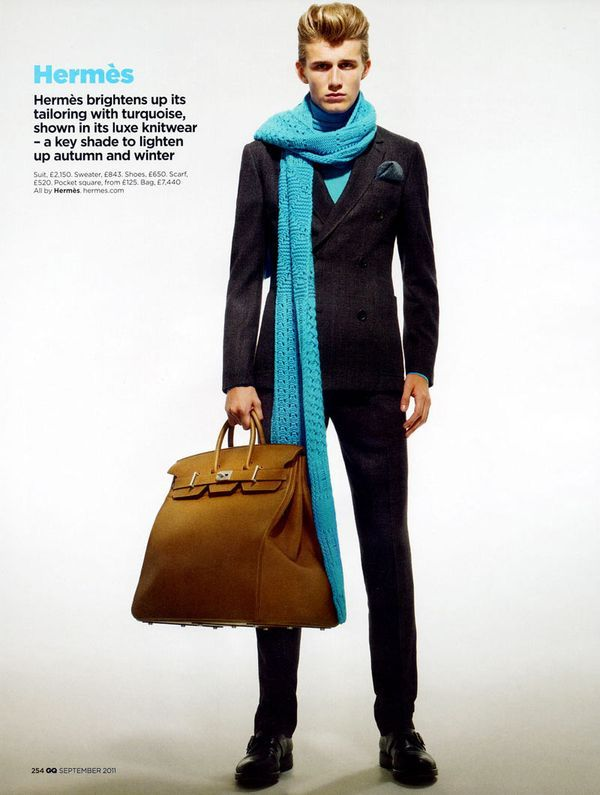 Hermes Fall 2011 Editorial. Love the blue scarf and the HAC bag!