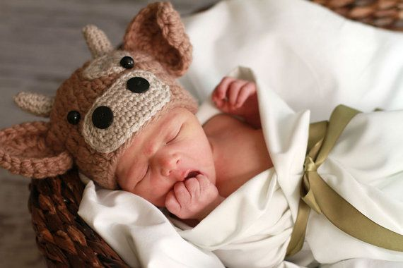 "Newborn Baby Brown Cow Hat Crochet Photo Prop - So want this for the next baby if there ever is a ""next baby"""