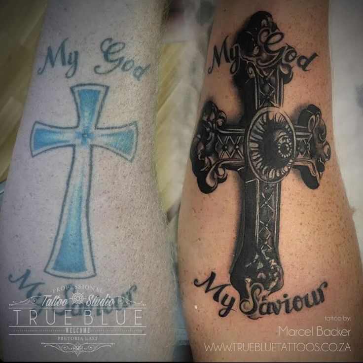 """""""The Cross Covers Us All""""by Marcel Backer of True Blue Professional Tattoo Studio"""